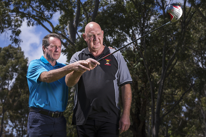 Peter North, with David Wheatley,<br />Brighton Golf Course, Melbourne. November 8th 2017<br />Photographer David Pockett