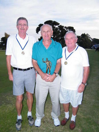 Rod Mills (middle) 2016 Victorian Open Champion<br /> and caddies Ian Winnett (R) and Geoff Mowthorpe (L).